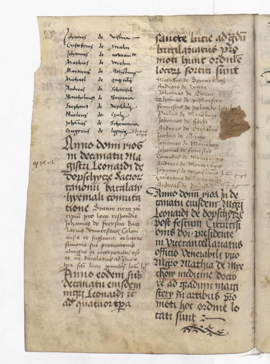 Lapas iš Krokuvos universiteto matrikulų knygos, kuriame paminėtas Pranciškus Skorina (5 nuo viršaus dešiniame stulpelyje). 1504. BJ