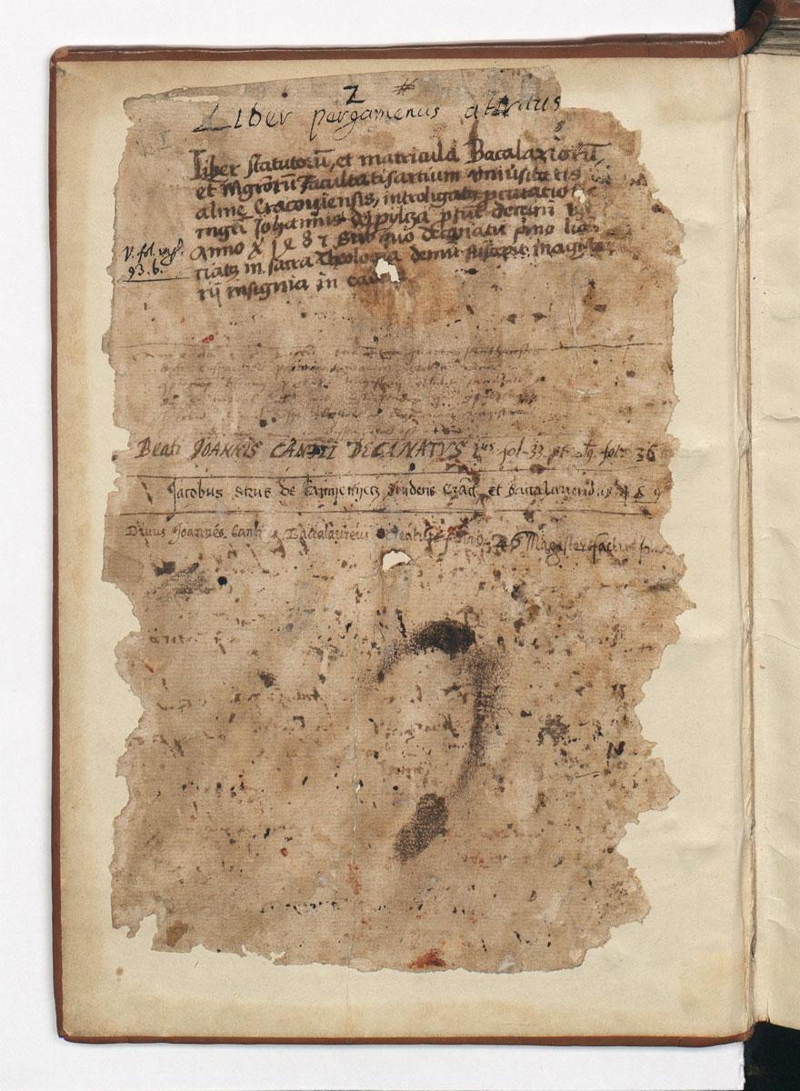 Krokuvos universiteto Laisvųjų menų fakulteto bakalaurų ir magistrų matrikulų knygos antraštinis lapas. 1408–1541. BJ