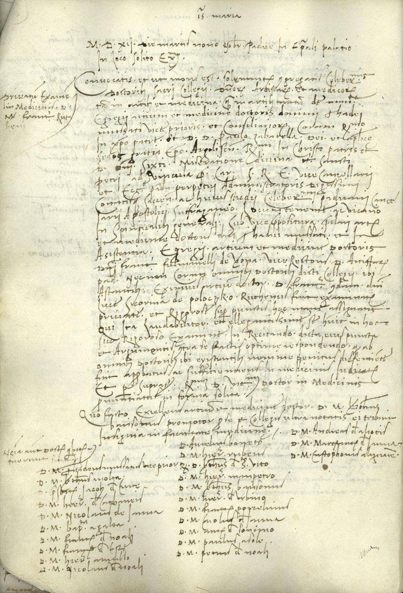 Įrašas Paduvos universiteto aktų knygoje apie 1512 XI 9 Skorinos laikytą ypatingąjį egzaminą medicinos daktaro laipsniui gauti. USP AS SCFM