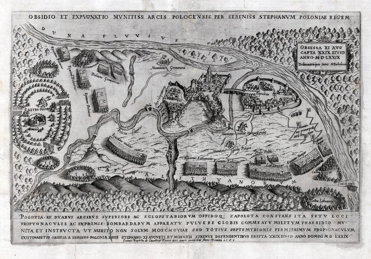 Polockas 1579 m. Stanisławo Pachołowieckio piešinys, išraižytas Giovanni'o Battistos Cavalieri'o. Roma, 1580. Tomaszo Niewodniczańskio kolekcija. Nuotrauka Kazimierzo Kozicos. ZK